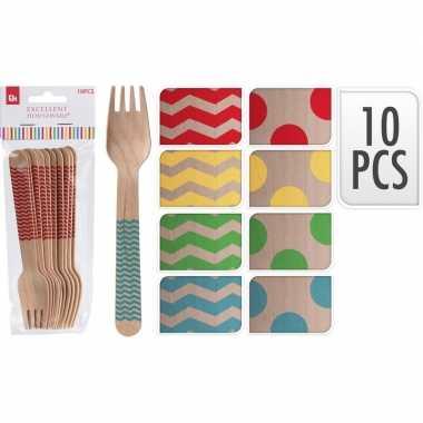 Goedkope x houten duurzame wegwerp vorken blauwe zigzag strepen