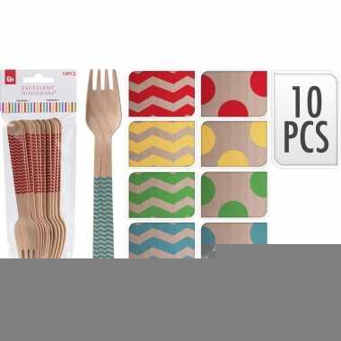 Goedkope x houten duurzame wegwerp vorken rode stippen