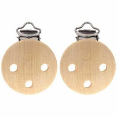 Goedkope x houten speenkoord/wagenspanner clip naturel mm