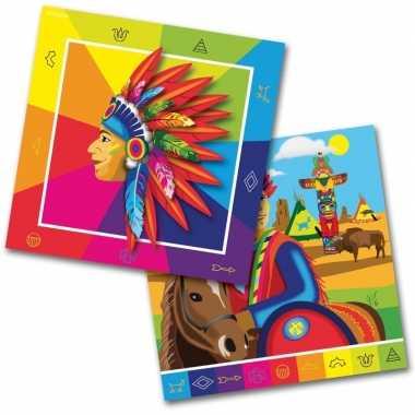 Goedkope x indianen/western themafeest servetten papier