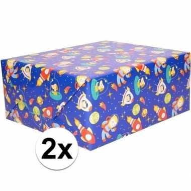 Goedkope x inpakpapier/cadeaupapier blauw ruimte thema cm rol