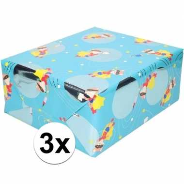 Goedkope x inpakpapier/cadeaupapier blauw vos masker rol