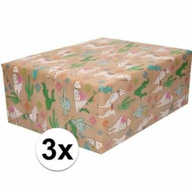 X inpakpapier/cadeaupapier bruin alpaca goedkope
