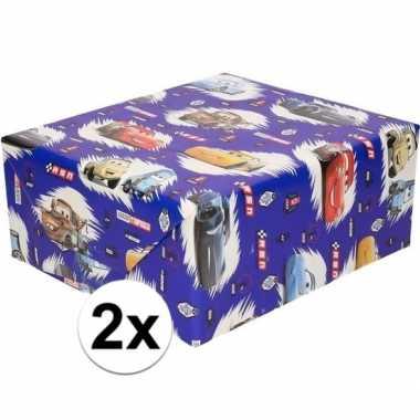 Goedkope x inpakpapier/cadeaupapier disney cars blauw