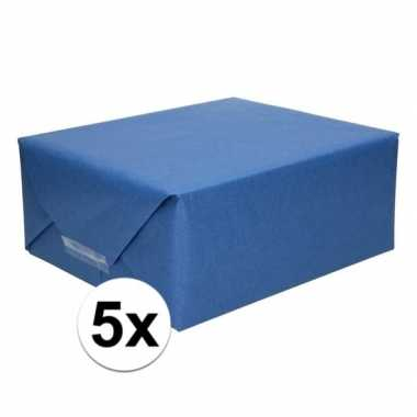 Goedkope x inpakpapier/cadeaupapier donkerblauw kraftpapier