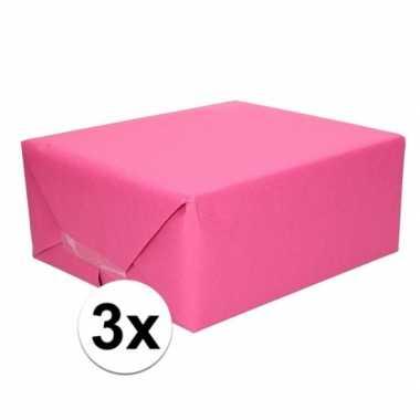 Goedkope x inpakpapier/cadeaupapier fuchsia roze kraftpapier