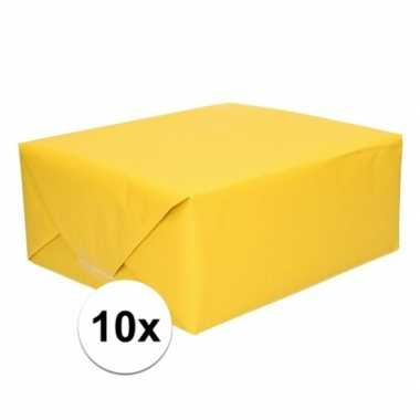 Goedkope x inpakpapier/cadeaupapier geel kraftpapier rollen