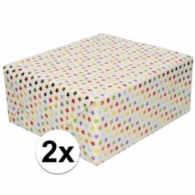 Goedkope x inpakpapier/cadeaupapier gekleurde sterretjes