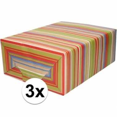 Goedkope x inpakpapier/cadeaupapier gekleurde strepen rol