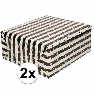 Goedkope x inpakpapier/cadeaupapier metallic goud/zwart/wit