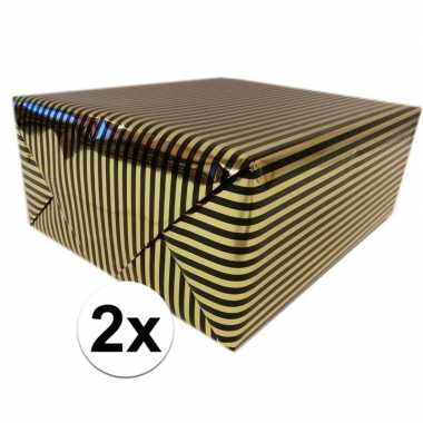 Goedkope x inpakpapier/cadeaupapier metallic goud/zwart