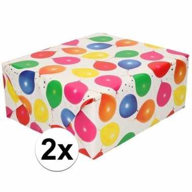 Goedkope x inpakpapier/cadeaupapier metallic wit ballonnen