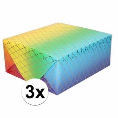 Goedkope x inpakpapier/cadeaupapier regenboog kleuren