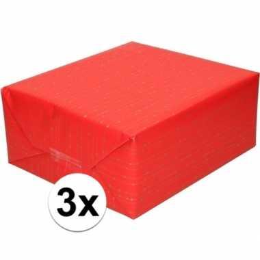 Goedkope x inpakpapier/cadeaupapier rood gouden strepen