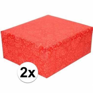 Goedkope x inpakpapier/cadeaupapier rood motief