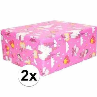 Goedkope x inpakpapier/cadeaupapier roze elfjes thema rol