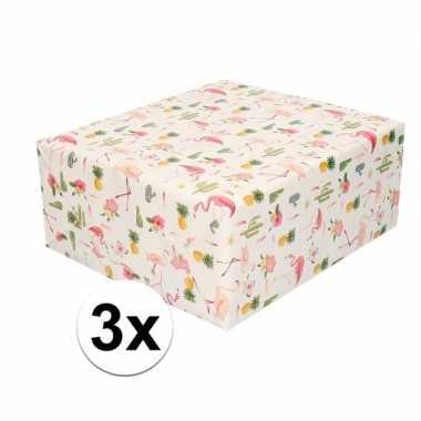 Goedkope x inpakpapier/cadeaupapier roze flamingos