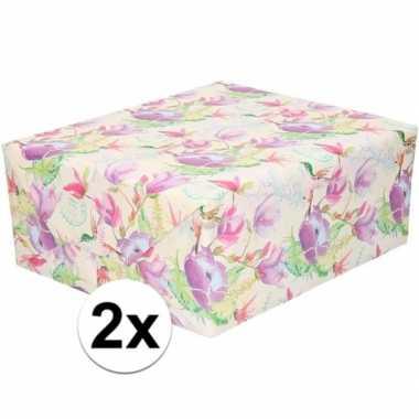 Goedkope x inpakpapier/cadeaupapier tropische bloemen/vogel
