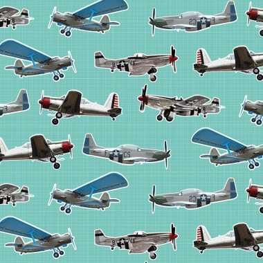 Goedkope x inpakpapier/cadeaupapier vliegtuigen mintgroen
