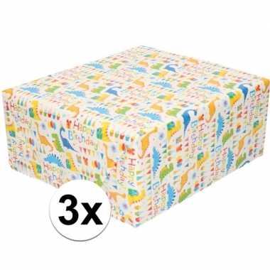 Goedkope x inpakpapier/cadeaupapier wit happy birthday