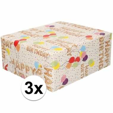 X inpakpapier/cadeaupapier wit/happy birthday goedkope