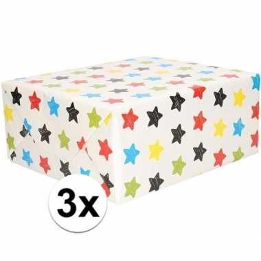 Goedkope x inpakpapier/cadeaupapier wit sterren rol