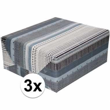 Goedkope x inpakpapier/cadeaupapier zwart/wit/grijs motief