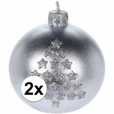 Goedkope x kerst decoratie kaars zilveren kerstballen