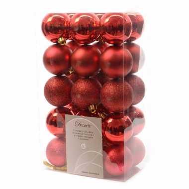 Goedkope x kerst rode kerstballen kunststof mix