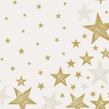 Goedkope x kerst servetten creme wit/gouden sterren