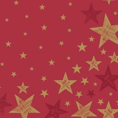 Goedkope x kerst servetten rood/gouden sterren
