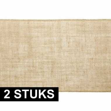 Goedkope x kerst thema jute tafellopers/placemats