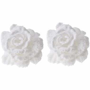 Goedkope x kerstboomversiering clip witte besneeuwde rozen