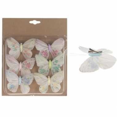 Goedkope x kerstboomversiering vlinders clip multi