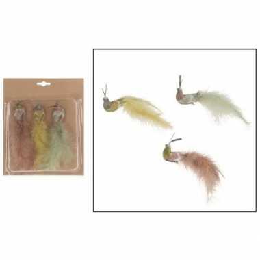 Goedkope x kerstboomversiering vogels clip gekleurde pauwen
