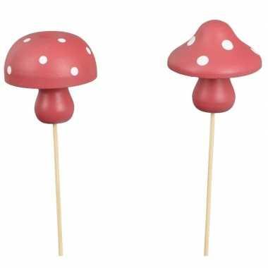 Goedkope x kerststukje onderdelen houten paddenstoelen stekers