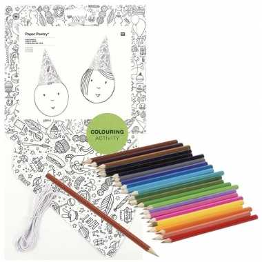 Goedkope x knutsel papieren feesthoedjes om te kleuren incl. potloden