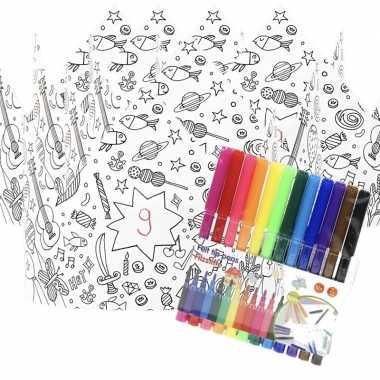 Goedkope x knutsel papieren kroontjes om te kleuren incl. stiften