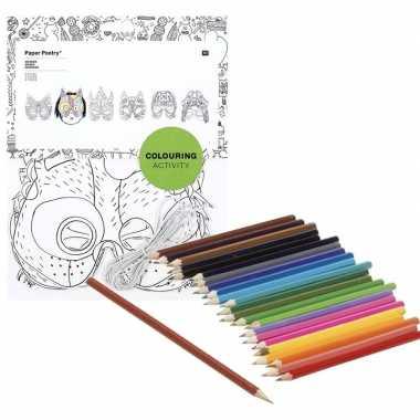 Goedkope x knutsel papieren maskers om te kleuren incl. potloden