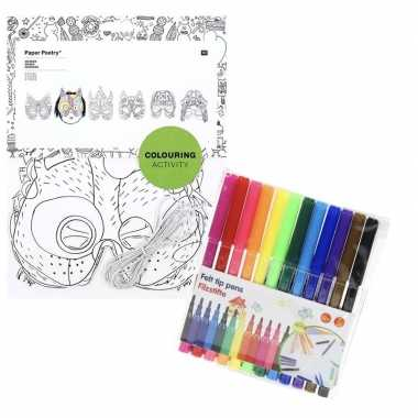 Goedkope x knutsel papieren maskers om te kleuren incl. stiften