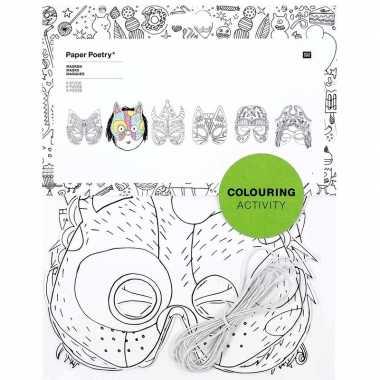 Goedkope x knutsel papieren maskers om te kleuren kinderen