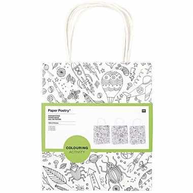 Goedkope x knutsel papieren tassen/tasjes om te kleuren kinderen