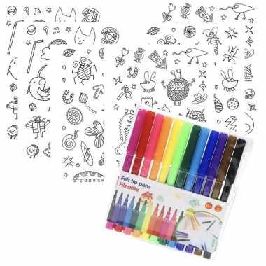 Goedkope x knutsel stickervellen om te kleuren incl. stiften kids