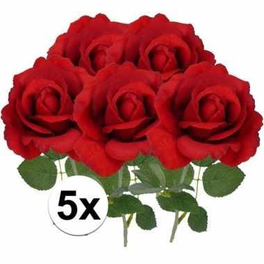 Goedkope x kunstbloem roos carol rood