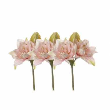 Goedkope x kunstbloemen amaryllis roze