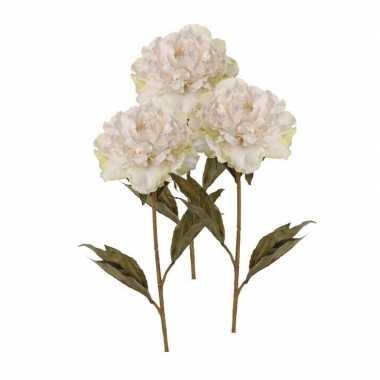 Goedkope x kunstbloemen pioenroos wit