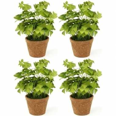 Goedkope x kunstplanten klavertje groen pot