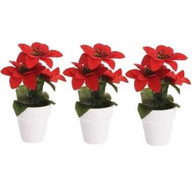 Goedkope x kunstplanten poinsettia rood pot