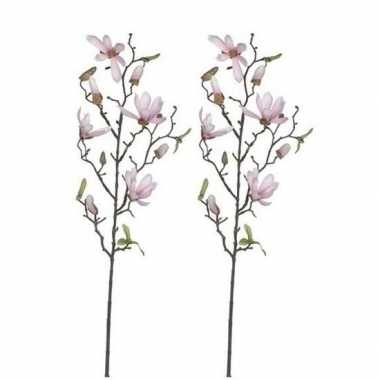 Goedkope x licht roze magnolia/beverboom kunsttak kunstplant