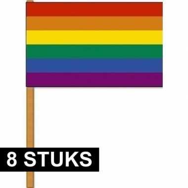 Goedkope x luxe zwaaivlaggen regenboog houten stok